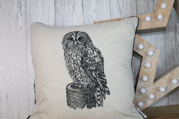 Owl Cushion- Cream /Taupe Piped Cushion