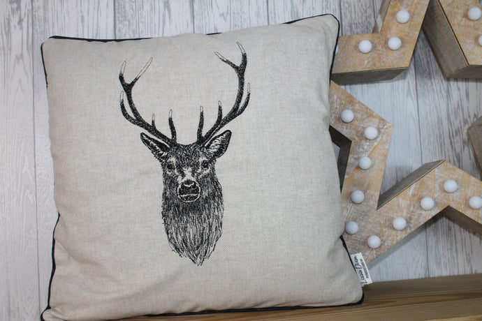 Stag Head  Cream/ Taupe Piped Cushion