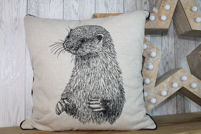 Otter Cushion-  Cream/ Taupe Piped Cushion
