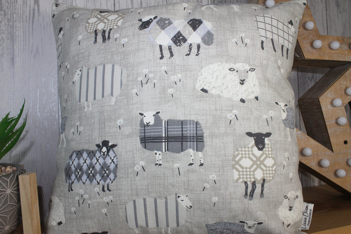 Sheep Wearing Jumpers Cushion- Grey and Taupe- 14