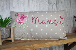 Mamgu Cushion-Mother's Day Cushion-Taupe Dotty and Floral