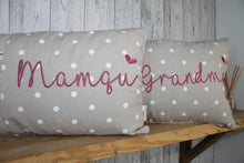 Load image into Gallery viewer, Mamgu Cushion-Mother's Day Cushion-Taupe Dotty and Floral