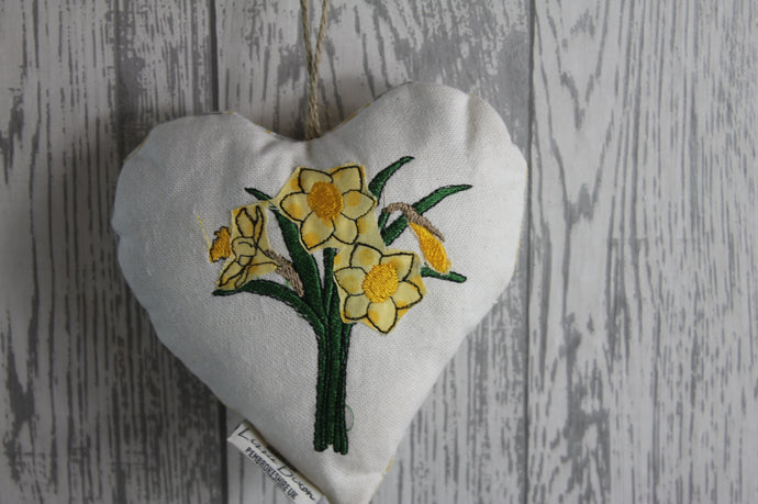 Daffodil Hanging Heart- Lavender Stuffed Hanging Heart