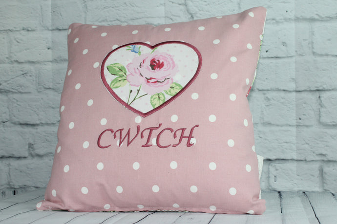 Cwtch Heart Cushion - Pink Dotty and Floral