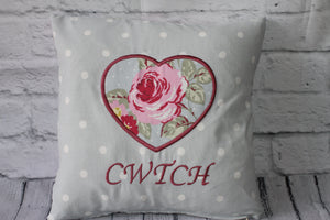 Cwtch Heart Cushion -Blue Dotty and Welsh Rose