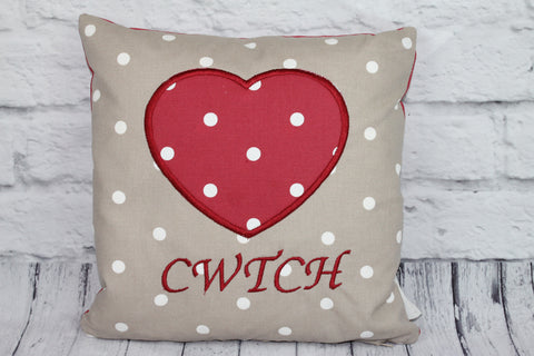 Cwtch Heart Cushion- Taupe Dotty and Red Dotty