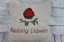 "Load image into Gallery viewer, Robin Christmas Cushion- 16"" Nadolig Llawen"