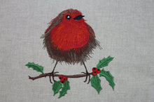 "Load image into Gallery viewer, Robin Christmas Cushion- 14"" Nadolig Llawen"