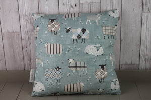 "Sheep Wearing Jumpers Cushion- Duck Egg- 20"" x 12"" Lumbar/Oblong Cushion"