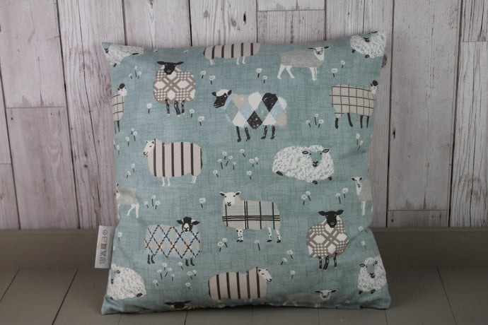 Sheep Wearing Jumpers Cushion- Duck Egg- 20