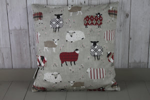 "Sheep Wearing Jumpers  Cushion Red and Taupe-16"" Square Cushion"