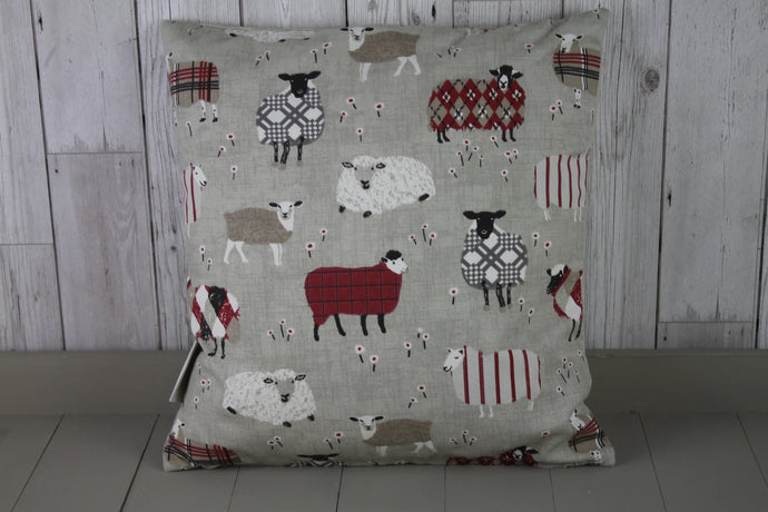 Sheep Wearing Jumpers  Cushion Red and Taupe-16