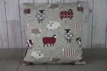 "Load image into Gallery viewer, Sheep Wearing  Jumpers  Cushion Red and Taupe-14"" Square Cushion"
