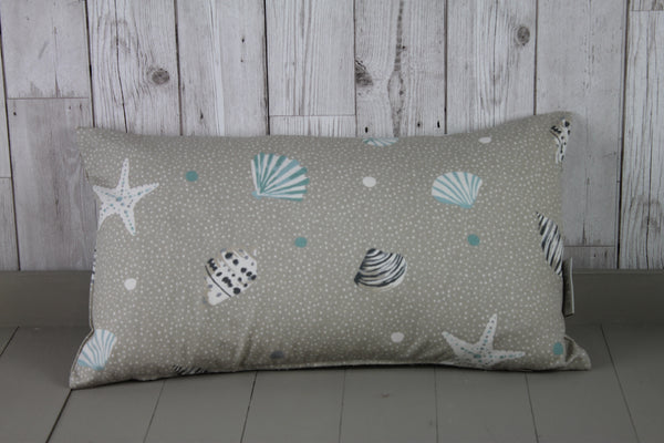 Location Cushion-Plain Taupe Linen front Seashell back