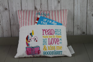 Unicorn  with Pink Stripes Reading BookCushion