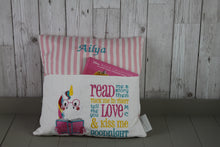 Load image into Gallery viewer, Unicorn  with Pink Stripes Reading BookCushion