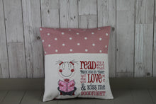 Load image into Gallery viewer, Cute Little Girl and Grey and Pink Dotty-Children's Reading Book Cushion.