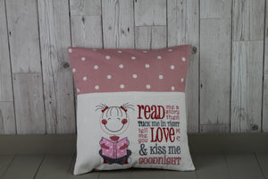 Book Cushion. Cute Little Girl and Pink Dotty