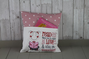 Cute Little Girl and Grey and Pink Dotty-Children's Reading Book Cushion.