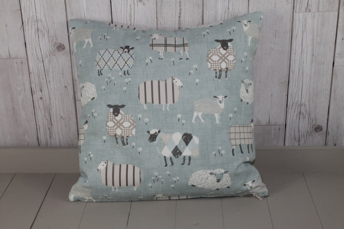 Sheep Wearing Jumpers Cushion- Duck Egg 16