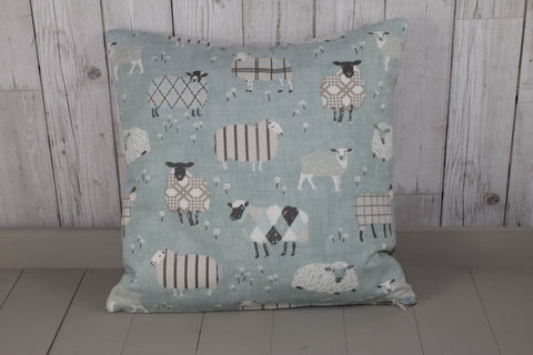 "Sheep Wearing Jumpers Cushion- Duck Egg-14"" Square Cushion"