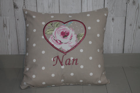 Nan Cushion -Taupe Dotty and Rose