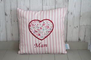 Mam Cushion -Pink Stripe and Floral