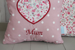 Mum Cushion -Pink Dotty and Floral