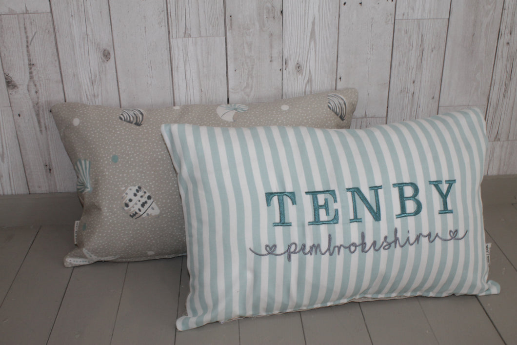 Location Cushion- Duck Egg Stripe and Sea Shell