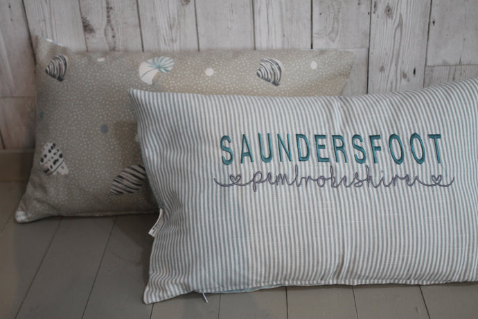 Location Cushion-Duck Egg Stripe and Sea Shell