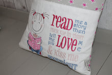 Load image into Gallery viewer, Cute Little Girl and Grey and Pink Stars-Children's Reading Book Cushion.
