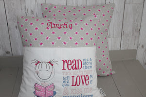 Cute Little Girl and Grey and Pink Stars-Children's Reading Book Cushion.