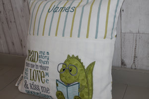 Children's Reading Book Cushion- Green Dino