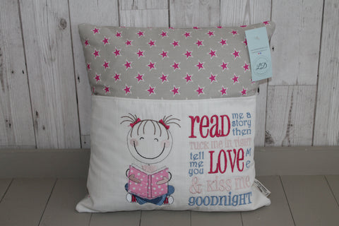 Book Cushion. Cute Little Girl and Grey and Pink Stars