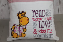 Load image into Gallery viewer, Giraffe  Children's Reading book Cushion.