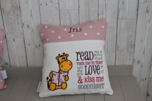 Giraffe  Children's Reading book Cushion.