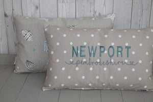 Location Cushion - Taupe Dotty and Shell-Lumbar Cushion