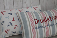 Load image into Gallery viewer, Location Cushion -Red & Blue Stripe Nautical Back-Lumbar Cushion