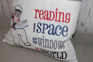 Space man Reading in space Children's Reading Book Cushion