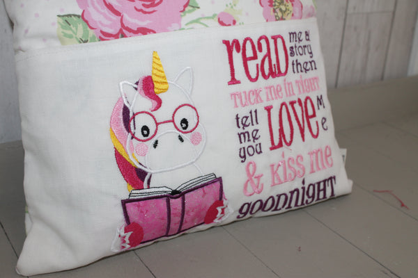 Book Cushion. Unicorn with Flowers