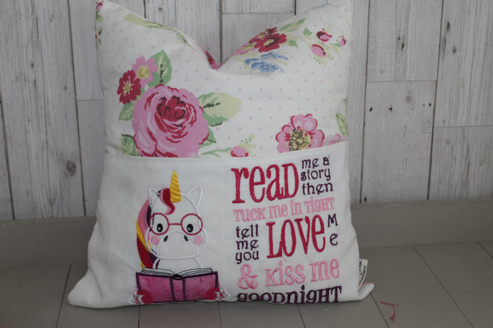 Unicorn with Flowers Children's Reading Book Cushion