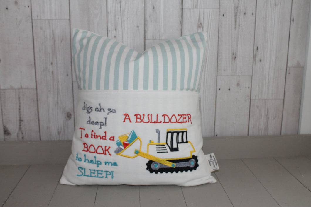 Digger with saying Children's Reading Book Cushion.