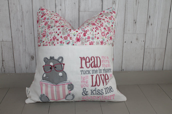 Hippo and Ditsy flower-Children's Reading Book Cushion