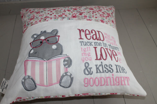 Book Cushion. Hippo and Ditsy flower