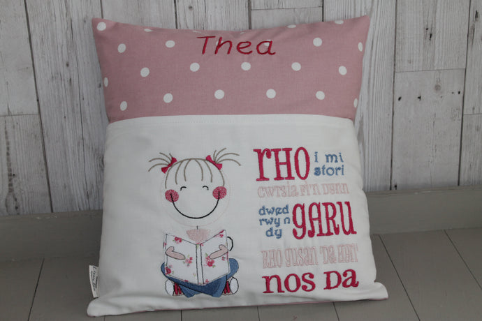 Cute Little Girl and Pink Dotty-Children's Reading Book Cushion Welsh saying