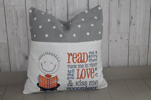 Little Boy Children's Reading Book Cushion.