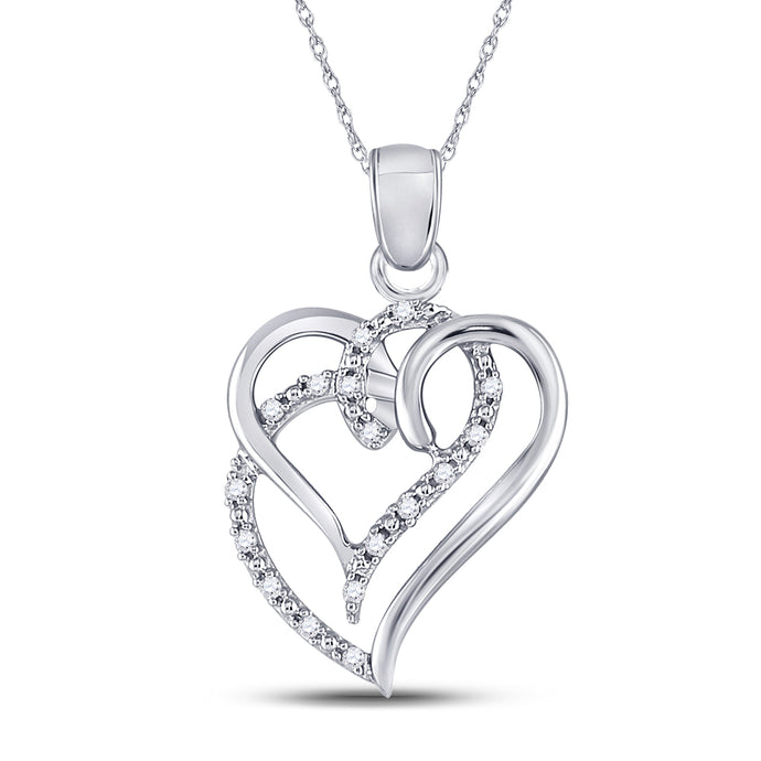 Sterling Silver Womens Round Diamond Circle I Love You Heart Pendant 1//20 Cttw