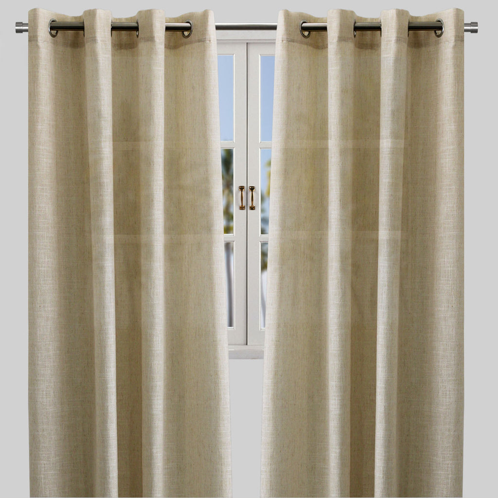 Adrina Set of 2 Metallic Linen Look Curtain Panels | Size 54X96 | Color Beige - Rodeo Home