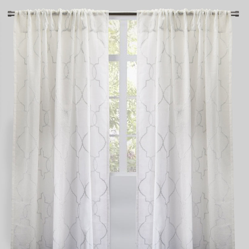 Aladdin Set of 2 Linen Look Curtain Panels | Size 54X96 | Color White