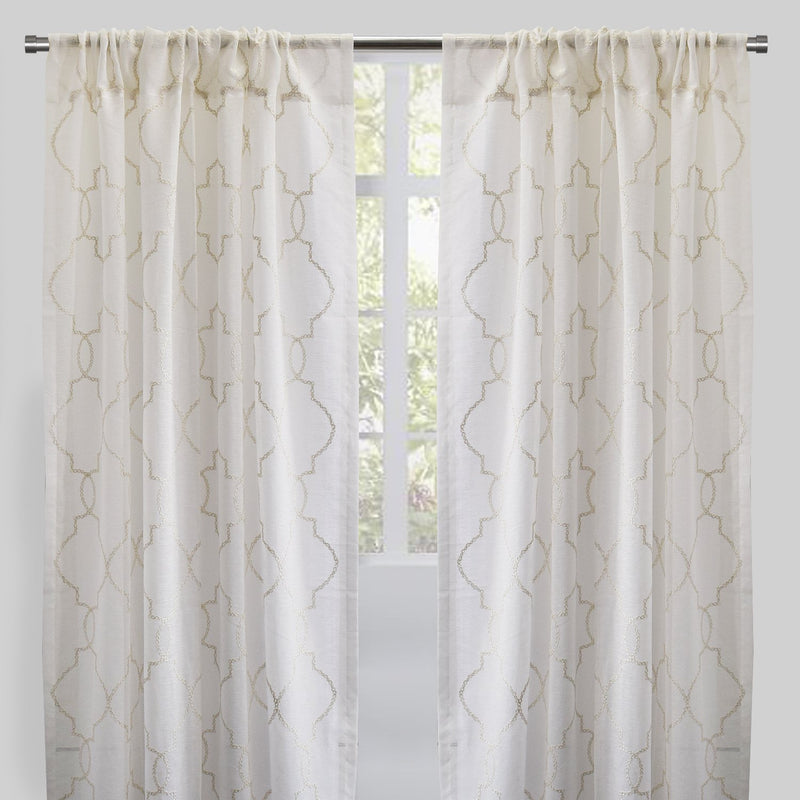 Aladdin Set of 2 Linen Look Curtain Panels | Size 54X96 | Color Ivory